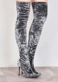 Crushed Velvet Over The Knee High Long Stiletto Heeled Boots Silver Grey