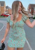 Cup Detail Floral Drawstring Neck Frill Sleeve Mini Dress Green