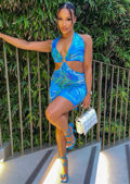 Cut Out Deep V Halterneck Double Back Tie Midi Dress Blue