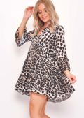 Deep V Neck Gathered Mini Dress Leopard Print Multi