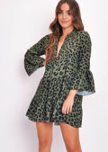 Deep V Neck Tiered Mini Dress Leopard Print Green