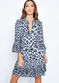 Deep V Neck Tiered Mini Dress Leopard Print Grey