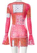 Deep V Paisley Mesh Print Ruched Drawstring Mini Dress Pink