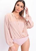 Deep V Plisse Wrap Front Bodysuit Nude Pink