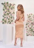 Satin Deep V Side Cut Out Strapped Midi Dress Beige