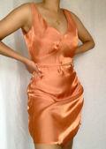 Deep V Sleeveless Satin Tie Around Cupped Mini Dress Orange