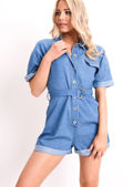 Denim Belted Utility Playsuit Blue
