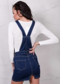 Denim Dungaree Pinafore Dress Indigo Blue