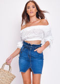 Denim Paperbag Belted Mini Skirt Blue