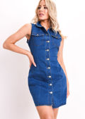 Denim Sleeveless Mini Dress Blue