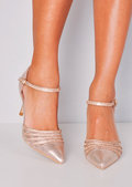 Diamante Mesh Embellished Kitten Court Heels Rose Gold