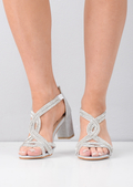 Diamante Embellished Open Toe Block Heeled Sandals Silver