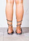 Diamante Gladiator Strappy Flats Sandals Black