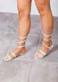 Diamante Gladiator Strappy Flats Sandals Silver
