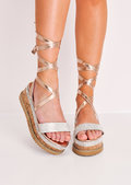 Diamante Suede Lace Up Flatform Espadrille Sandals Rose Gold