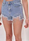 Diamante Chain Tasselled Distressed High Waisted Denim Shorts Blue