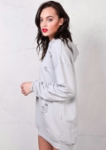 Distressed Hooded Sweater Dress Grey