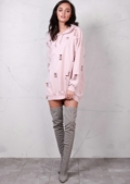 Distressed Hooded Sweater Dress Rose Pink