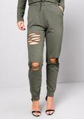 Distressed Loungewear Co Ord Set Khaki Green