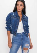 Distressed Ripped Denim Crop Jacket Indigo Blue