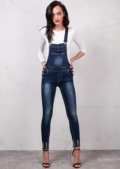 Distressed Ripped Detail Skinny Dungarees Indigo Blue