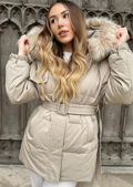 Down Faux Fur Hooded Padded Snap Fastening Puffer Coat Beige