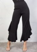 Draped Asymmetrical Frill Cigarette Trousers Black