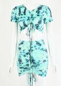 Draw String Dip Dye Crop Top Mini Skirt Co ord Set Green