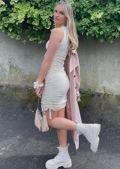 Drawstring Side Ruched Mini Dress Beige