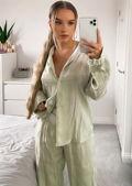 Slinky Button Down Pyjamas Shirt Loose Fit Pants Co Ord Set Green
