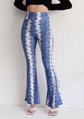 Elasticated Paisley Print High Waisted Flared Legging Pants Blue