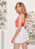 Elasticated Waist Pleated Tennis Mini Skirt White