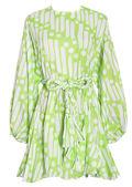 Oversized Puffy Sleeved Braided Waist Belt Mini Dress Tiedye Green