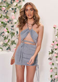 Halterneck Tie Crop Top And Side Ruched Mini Skirt Co-Ord Set Grey