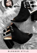 Faux Suede Western Buckle Heeled Ankle Boots Black