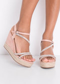 Embellished Diamante Braided Cork Espadrille Wedge Sandals Pink