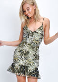 Embellished Lace Up Back Frill Hem Cami Mini Dress Black