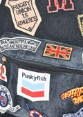 Embroidered Patches Denim Backpack Black
