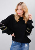 Multi Colour Fringe Embroidered Sleeve Oversized Long Jumper Black