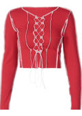 Exposed Seam Ribbed Front Lace Up Long Sleeve Crop Top Red