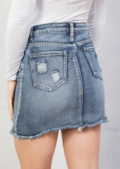 Extreme Ripped Mini Bodycon Denim Skirt Blue