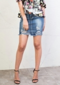 Extreme Ripped Mini Bodycon Denim Skirt Dark Blue