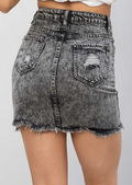 Extreme Ripped Mini Bodycon Denim Skirt Grey