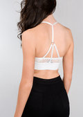 Eyelash Lace Strappy Harness Bralet White