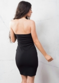 Eyelet Bandeau Mini Dress Black