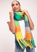 Multi Checked Wool Fringe Scarf Green