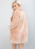 Soft Faux Fur Coat Fully Lined Tailored Jacket Pink