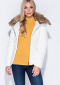 Faux Fur Collar Quilted Padded Puffer Jacket Coat White