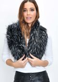 Faux Fur Collar Scarf Black
