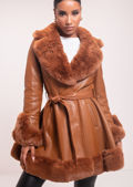 Faux Fur Collared And Trimmed Longline Belted Leather Coat Brown
